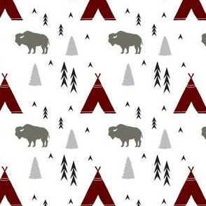 Tee Pee Bison in Red and Grey