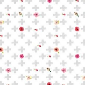 Grey Cross With Flowers