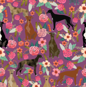 greyhounds purple vintage florals fabric cute dog fabric cute dogs fabric best florals flowers fabric cute dog fabric