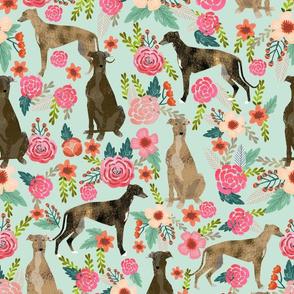 brindle cute greyhound fabric mint florals flowers cute fabric best dog fabric florals cute brindle fabric