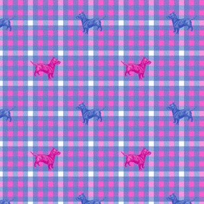 Emily Haddyr Presents Royal Dog Party ~ Scottie Plaid Flannel 2 ~ Comtesse and Nelson
