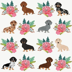 doxie dog cute dachshunds florals floral wreath cute dogs dog fabric cute dogs