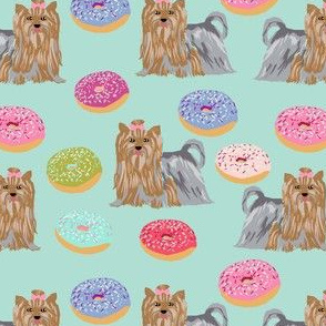 yorkie dog fabric cute mint donuts fabric yorkshire terriers cute dogs fabric best dog fabric