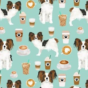 papillon dog coffee mint fabric cute dogs fabric best coffee latte fabric best coffee print dogs papillon fabric
