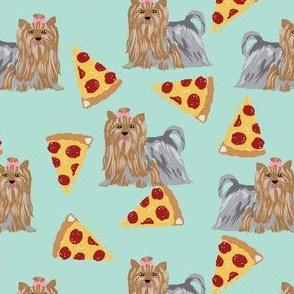 yorkie dog mint pizza fabrics cute dog fabric best yorkshire terriers fabric cute dogs fabric pizza mint fabrics cute dog fabric