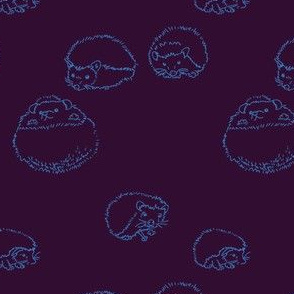 hedgehog polka Blue on Purple