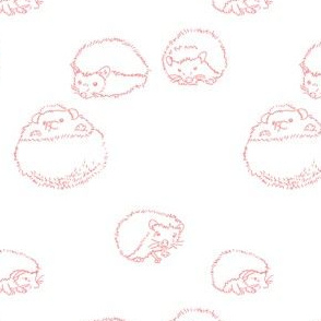 hedgehog polka pink on white