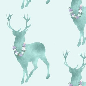 Buck- floral decorated - Aqua mint with lavender and pink flowers