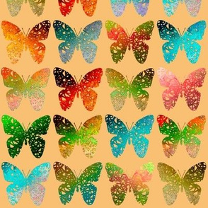 Orange blue butterflies on orange by Su_G