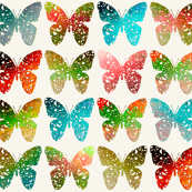 Bright + colorful butterflies of the rainforest on off-white by Su_G
