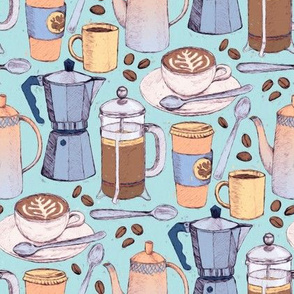 Coffee Love - Painted Illustration Pattern on Blue