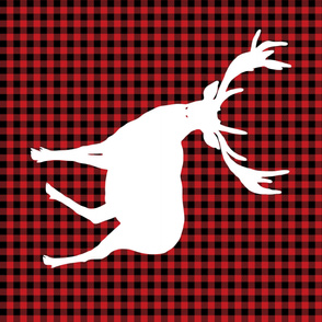 Deer against a Red and Black Plaid Print  - Large