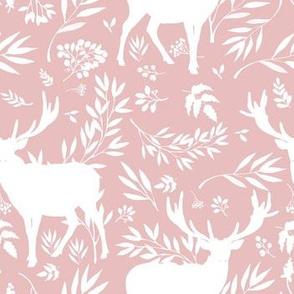 Deer Silhouette in Dusty Pink