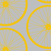 XL Yellow Bike Wheel on Gray