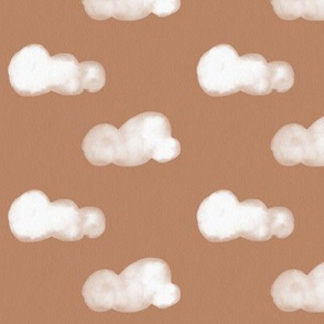 watercolor clouds - white on peach smokey orange