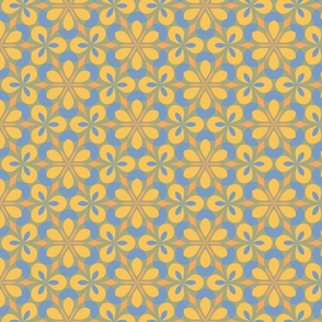 Yellow & Blue Floral Geometric