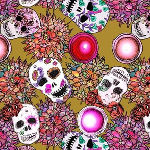 Sugar Skulls Red and Maize