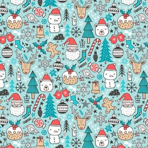 Xmas Christmas Winter Doodle with Snowman, Santa, Deer, Snowflakes, Trees, Mittens on Blue Tiny Small