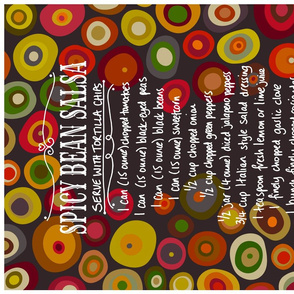 spicy bean salsa tea towel