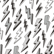 Bolt Bolts Lighting Comic Superhero Black & White Grey