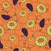 Pumpkins, Flowers & Aubergines