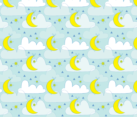 Moon stars and clouds on blue fabric lilcubby spoonflower for Moon print fabric