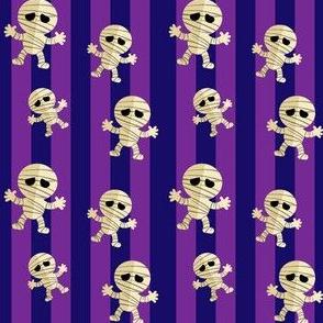 Halloween Cute Dancing Mummy  Monsters on Orange Stripes
