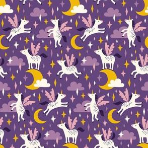 Unicorns in the sky in purple (small)