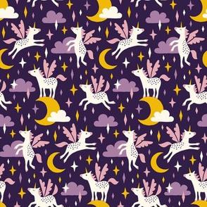 Unicorns in the sky in purple (small/dark)