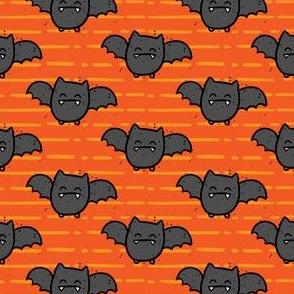 Halloween Cute Bats Orange Stripes