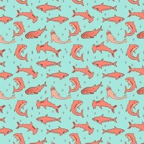 sharks // grey and coral shark fabric shark design sharks shark fabric shark pattern shark design
