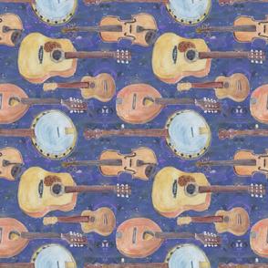 Strumming the Strings Horizontal on Blue