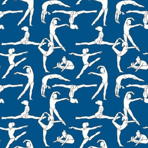 Gymnasts on Dark Blue
