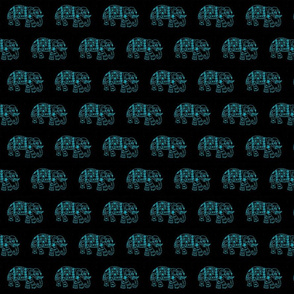 Turquoise elephants on Black