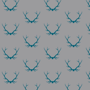 Antlers - teal/grey Winslow Woodland deer Buck baby boy nursery