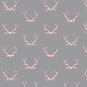 Antlers- pink/grey - deer Buck baby girl