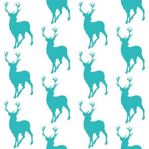 Buck- teal/white- summer woodland