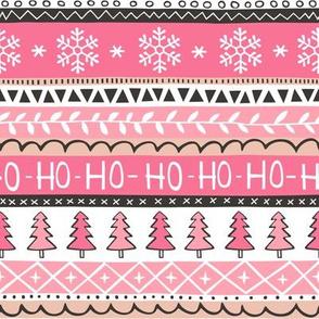 Christmas Xmas Stripes Snowflakes Trees Black & White Pink