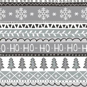 Christmas Xmas Stripes Snowflakes Trees Black & White Grey