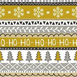Christmas Xmas Stripes Snowflakes Trees Gold Yellow