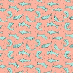 sharks // custom shark wedding fabric sharks mint and coral fabric