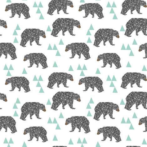 Bear mint and grey fabric bear nursery fabric bears for Grey nursery fabric