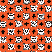 skulls+crosses on orange background