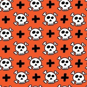 skulls+crosses on orange background