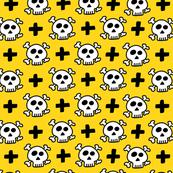 skulls+crosses on yellow background