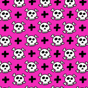skulls+crosses on fushia background
