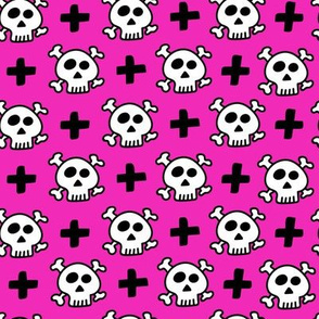 skulls+crosses on fushia background
