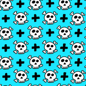 skulls+crosses on light blue background