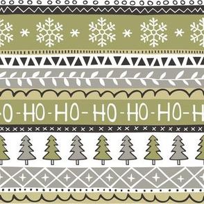 Christmas Xmas Stripes Snowflakes Trees Black & White Green