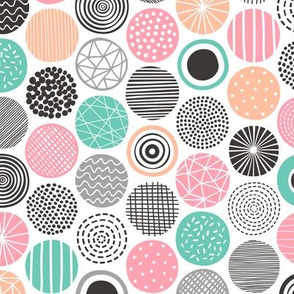 Dots Geometrical Patterned Black&White Mint Peach